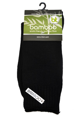Bamboo socks - Extra thick - M 4-6; W 6-8 - Black