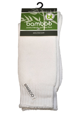 Bamboo socks - Extra thick - M 4-6; W 6-8 - White