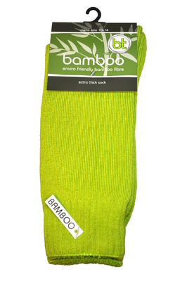 Bamboo socks - Extra thick - M 6-10; W 8-11 - HV Lime