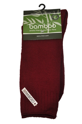 Bamboo socks - Extra thick - M 6-10; W 8-11 - Burnt Red
