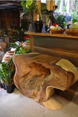Teak console table - Hollow Log