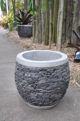 Stacked stone pot - Lava stone - 50cm