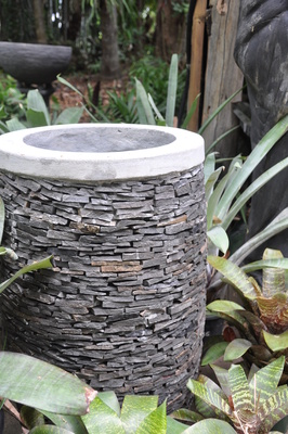 Stacked stone pot- slate - 80cm tall x 45cm (Externally)
