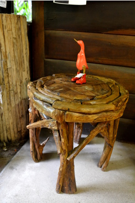 Recycled teak mozaic round coffee table - 60cm