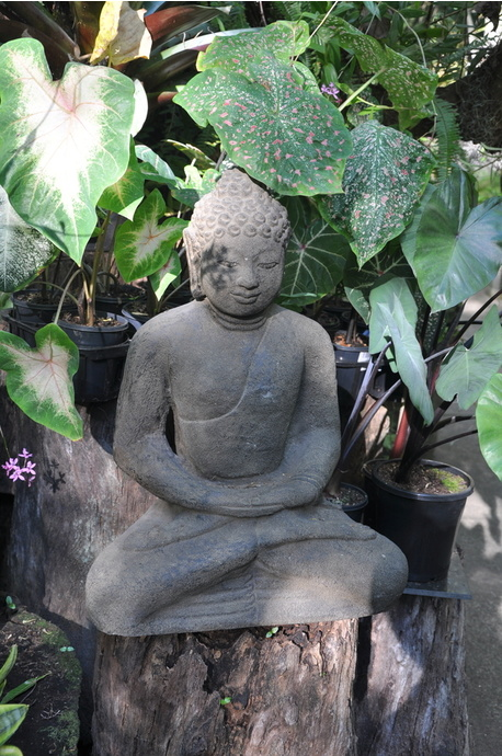 Stone sitting Buddha - 60cm - Brown