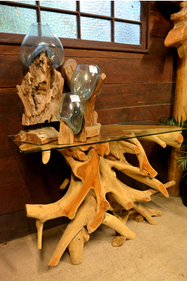 Teak root console table with glass top - 120cm - Bleached