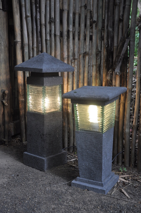Hand carved lava stone garden lights